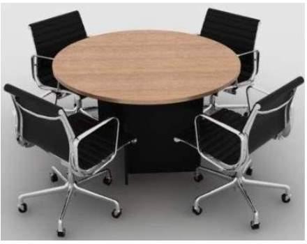 Mesa de Reunião Redonda Pé Painel 04 Lugares 1200x1200 M25