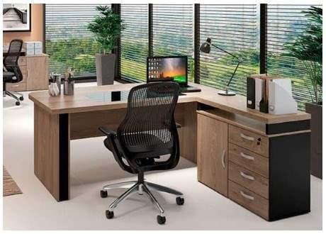 Mesa Escritório com Vidro Embutido Curve e Armário Trento Gold