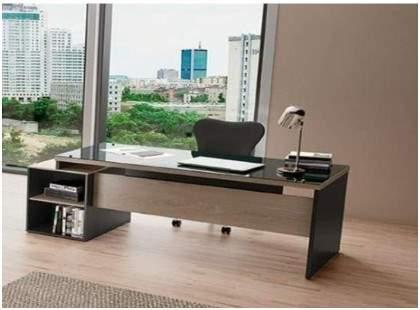 Mesa Escritório Reta com Vidro Acoplado e Gaveteiro Pedestal 4 Gavetas Ravena Glass