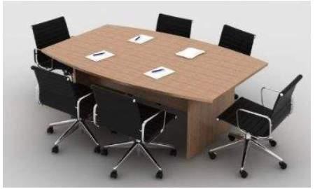 Mesa de Reunião Semi Oval Pé Painel 8 Lugares 2700x1200 Beja