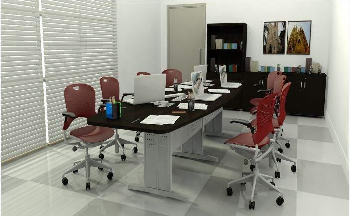 Mesa de Reunião Semi Oval Pés em Aço 6 Lugares 2000x1200 Sintra