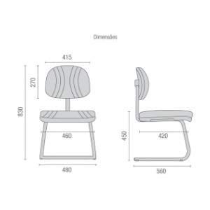 Cadeira Escritório Fixa Secretária CF0300803 Start Plus Cavaletti
