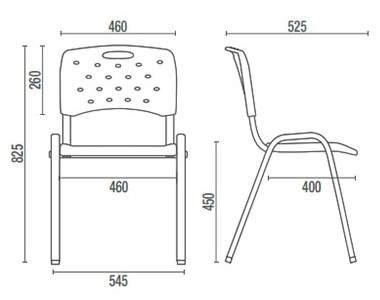 Cadeira Escritório Fixa Empilhável CF3500801 Viva Cavaletti