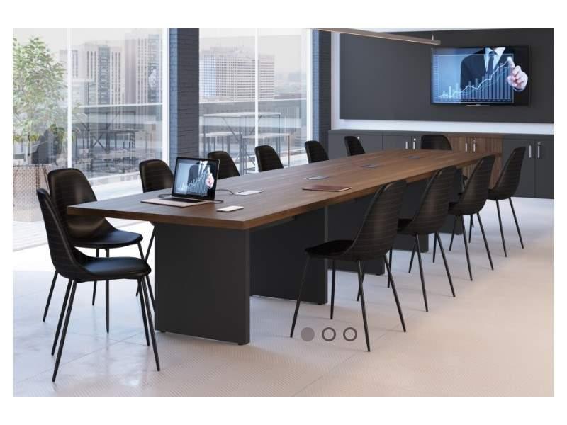 Mesa de Reunião Retangular Pé Painel 12 Lugares 3650x1100 Pádua