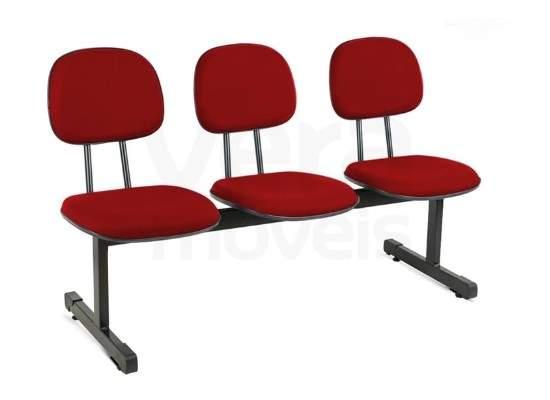 Cadeira Longarina Secretária Reta de 3 Lugares Office