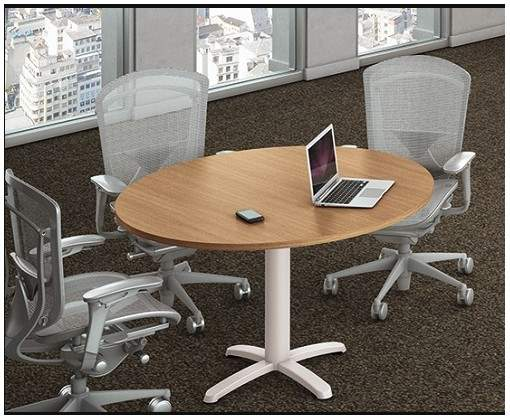 Mesa de Reunião Redonda Pés em Aço 4 Lugares 1200x1200 Sines