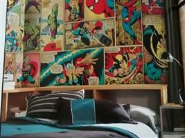 Papel de Parede Infantil - Faixa Decorativa Disney Home Aranha (Tons Bege Colorido) 1007824