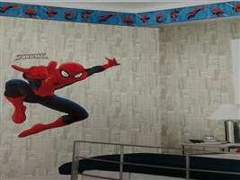 Papel de Parede Infantil - Faixa Decorativa Disney Homem-Aranha (Azul/Vermelho)