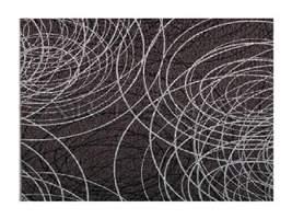 Papel de Parede - Riscas Circulares (Preto e Prata) 900991607