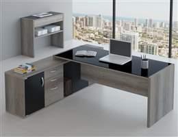 Mesa para escritório com vidro e Armário acoplado