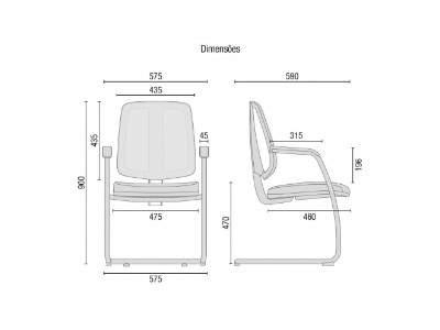Cadeira Escritório Fixa Tela PF4310605 Flip Cavaletti