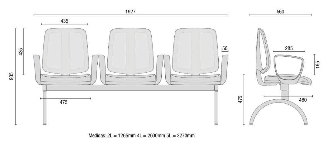 Cadeira Longarina Telada de 03 Lugares – Cavaletti – FLIP