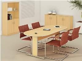 Mesa de Reunião Semi Oval -Conjunto de Armários Muno