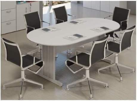 Mesa de Reunião Oval Pés em Aço 6 Lugares 2000x1000 Amalfi 15M