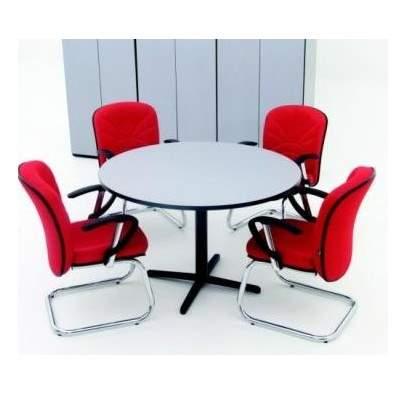 Mesa de Reunião Redonda Pés em Aço 4 Lugares 1200x1200 Viseu