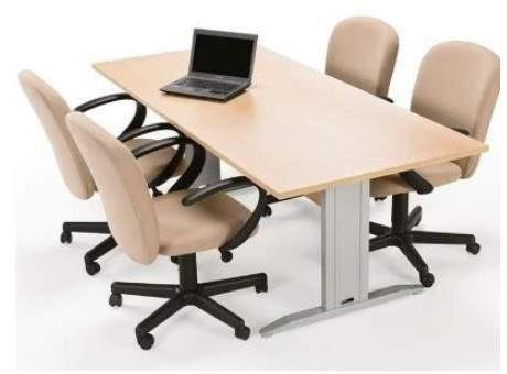 Mesa de Reunião Retangular Pés em Aço 4 Lugares 1600x900 Sines
