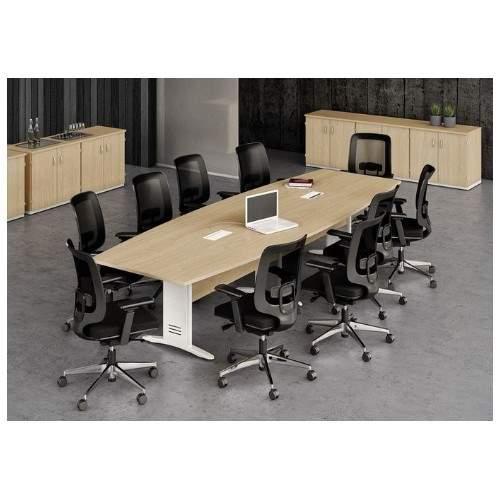 Mesa de Reunião Semi Oval Pés em Aço 10 Lugares 3000x1100 Viana