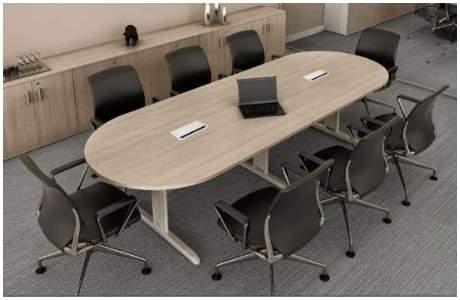 Mesa de Reunião Oval Pés em Aço 8 Lugares 2700x1100 RM Plus