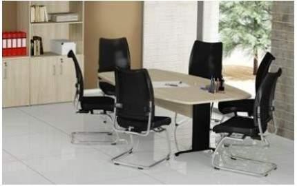 Mesa de Reunião Semi Oval Pés em Aço 6 Lugares 2000x1200 Trieste