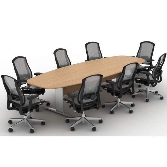 Mesa de Reunião Semi Oval Pés em Aço 8 Lugares 2700x1100 Sines