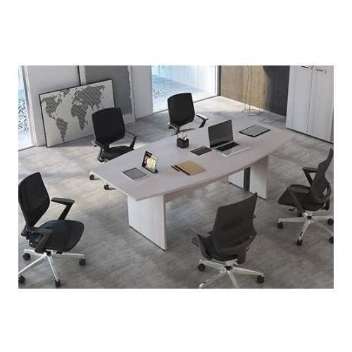 Mesa de Reunião Semi Oval Pé Painel 6 Lugares 2000x900 Faro 25M
