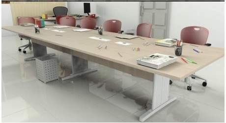Mesa de Reunião Retangular Pés em Aço 10 Lugares 3200x1200 Gold
