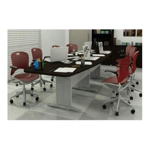 Mesa de Reunião Semi Oval Pés em Aço 8 Lugares 2400x1200 Sintra