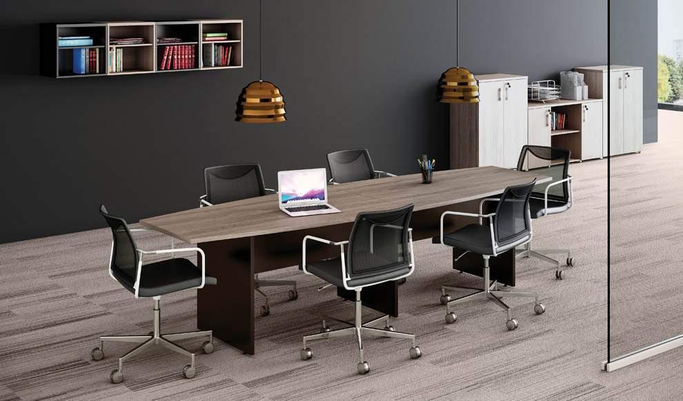 Mesa de Reunião Semi Oval Bipartida Pé Painel 10 Lugares 3000x1200 Faro 25M