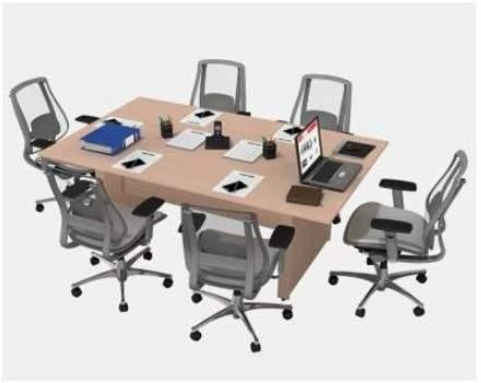Mesa de Reunião Retangular Pé Painel 6 Lugares 2000x1200 Faro 25M
