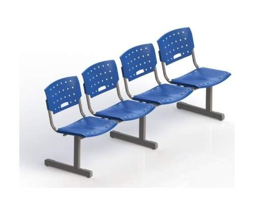 Cadeira Longarina Secretária de 4 Lugares MR