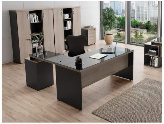 Mesa Escritório em L com Vidro e Gaveteiro Pedestal 4 Gavetas Ravena Glass