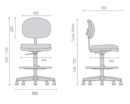 Cadeira Caixa Giratória Secretária S/B CG0412288 Start Cavaletti