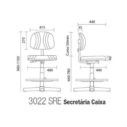 Cadeira Caixa Giratória Secretária S/B CG0302291 Start Plus Cavaletti
