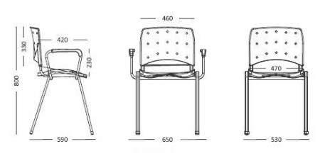 Cadeira Escritório Fixa Empilhável Ass Estofado Ergoplax