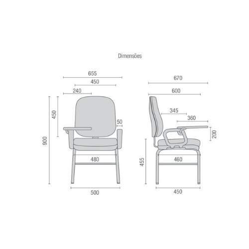Cadeira Universitária Diretor com Prancheta Escamoteável PF0460185 Start Cavaletti