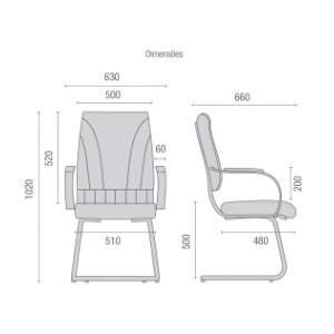 Cadeira Escritório Fixa PF2000613 Master Cavaletti