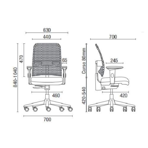 Cadeira Giratória Diretor Tela C/B PG1610220 NewNet Cavaletti