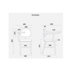 Cadeira Universitária Secretária com Prancheta CF0410837 Start Cavaletti